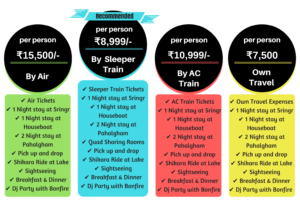 kashmir packages by air and train